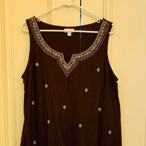 Knit embroidered swing tank